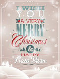 Vector Christmas illustration with typographic design on snowflakes background. Stock Images