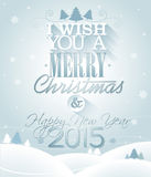 Vector Christmas illustration with typographic design on snowflakes background. Stock Photography