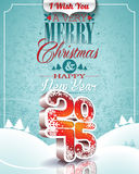 Vector Christmas illustration with typographic design on snowflakes background. Vector Christmas illustration with 3d 2015 typographic design on winter Royalty Free Stock Image