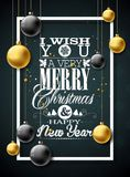 Vector Christmas illustration with typography and gold glass balls on vintage wood background. Vector holiday Royalty Free Stock Photography