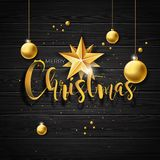 Vector Christmas illustration with typography and gold glass balls on vintage wood background. Vector holiday Stock Images