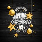 Vector Christmas illustration with typography and gold glass balls on vintage wood background. Vector holiday Royalty Free Stock Images