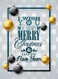 Vector Christmas illustration with typography and gold glass balls on white background. Holiday Design for Premium. Greeting Card, Party Invitation or Promo Royalty Free Stock Photography