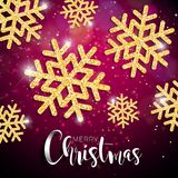 Vector Christmas Illustration with Typography and Shiny Gold Snowflake on Red Lighting Background. Vector Holiday Design.  Stock Photo