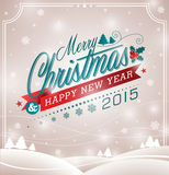 Vector Christmas Illustration With Typographic Design And Ribbon On Landscape Background. Royalty Free Stock Image