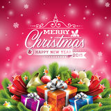 Vector Christmas Illustration With Typographic Design And Shiny Holiday Elements On Red Background. Royalty Free Stock Photos