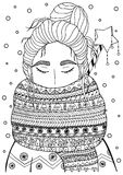 Vector Christmas illustration zentangl girl in scarf. Doodle drawing. Royalty Free Stock Images