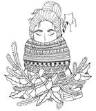 Vector Christmas illustration zentangl girl in scarf. Doodle drawing.  Stock Photography