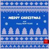 Vector Christmas knitted illustration Royalty Free Stock Image