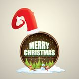 Vector Christmas label with red santa hat, tree , snow, cartoon snowman , kids elves and greeting text on wooden round Royalty Free Stock Photos