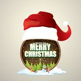 Vector Christmas label with red santa hat, tree , snow, cartoon snowman , kids elves and greeting text on wooden round Stock Photography