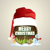 Vector Christmas label with red santa hat, tree , snow, cartoon snowman , kids elves and greeting text on wooden round. Sign background. vector merry christmas Royalty Free Stock Photos