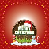 Vector Christmas label with red santa hat, tree , snow, cartoon snowman , kids elves and greeting text on wooden round Royalty Free Stock Photo