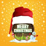 Vector Christmas label with red santa hat, tree , snow, cartoon snowman , kids elves and greeting text on wooden round. Sign background. vector red merry stock illustration
