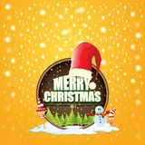 Vector Christmas label with red santa hat, tree , snow, cartoon snowman , kids elves and greeting text on wooden round. Sign background. vector red merry royalty free illustration