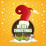 Vector Christmas label with red santa hat, tree , snow, cartoon snowman , kids elves and greeting text on wooden round. Sign background. vector red merry vector illustration