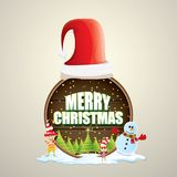 Vector Christmas label with red santa hat, tree , snow, cartoon snowman , kids elves and greeting text on wooden round Royalty Free Stock Images
