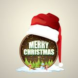 Vector Christmas label with red santa hat, tree , snow, cartoon snowman , kids elves and greeting text on wooden round. Sign background. vector merry christmas Royalty Free Stock Image