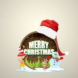 Vector Christmas label with red santa hat, tree , snow, cartoon snowman , kids elves and greeting text on wooden round. Sign background. vector merry christmas Stock Image