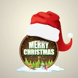Vector Christmas label with red santa hat, tree , snow, cartoon snowman , kids elves and greeting text on wooden round. Sign background. vector merry christmas Stock Photo