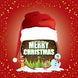 Vector Christmas label with red santa hat, tree , snow, cartoon snowman , kids elves and greeting text on wooden round Stock Photo