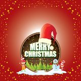 Vector Christmas label with red santa hat, tree , snow, cartoon snowman , kids elves and greeting text on wooden round Royalty Free Stock Image