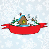 Vector Christmas landscape with lonely rural hut and red baner for text on background Stock Photo