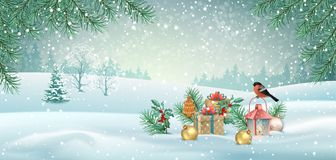 Vector Christmas Landscape stock illustration