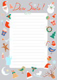 Vector Christmas letter to Santa Stock Photo