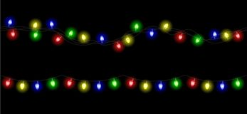 Vector christmas light garland set isolated on transparent. Background royalty free illustration