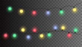 Vector Christmas light set garland isolated on backgrou. Vector Christmas light set garland isolated on transparent background Stock Photography