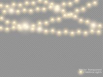 Free Vector Christmas Lights Isolated On Transparent Background. Xmas Glowing Garland. Golden Semitransparent New Year Lights Royalty Free Stock Photography - 123079257