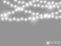 Vector christmas lights isolated on transparent background. Xmas glowing white semitransparent new year light decoration.  vector illustration