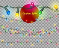Vector christmas lights. Christmas lights isolated, vector transparent illustration Royalty Free Stock Images