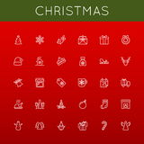 Vector Christmas Line Icons Royalty Free Stock Photos
