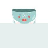 Vector christmas mug with blank banner. Christmas. Greeting card with cute muf of tea and magic wand Royalty Free Stock Photos