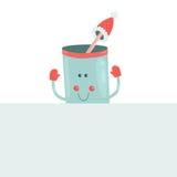 Vector christmas mug with blank banner. Christmas greeting card Stock Photo