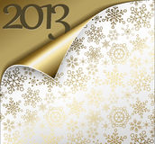 Vector Christmas New Year Card 2013. Vector Christmas New Year Card - Sheet of golden paper with a curl showing 2013 Royalty Free Stock Photo