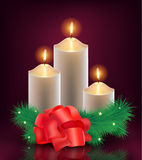 Vector christmas, new year card, 3 burning candles Stock Image