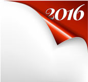 Vector Christmas New Year Card -. Sheet of red paper with a curl 2016 Stock Photography