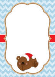Vector Christmas and New Year Card Template with a Cute Bear on Chevron Background. Stock Photos