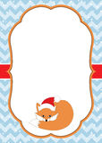 Vector Christmas and New Year Card Template with a Cute Fox on Chevron Background. Stock Photos