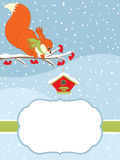 Vector Christmas and New Year Card Template with a Cute Squirrel Sitting on the Branch and a Birdhouse on Snow Background. Royalty Free Stock Photo
