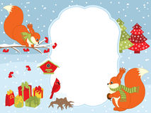 Vector Christmas and New Year Card Template with Squirrels, Cardinal, Gift Boxes and Birdhouses on Snow Background. Stock Photos