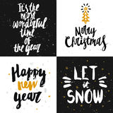 Vector Christmas and New year cards collection with handdrawn le Stock Images