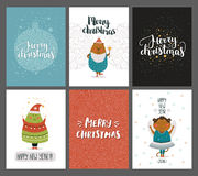 Vector Christmas and New year cards collection. With handdrawn lettering and cute animals. Xmas cards on winter background with bear, monkey and tree Royalty Free Illustration
