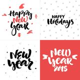Vector Christmas and New year cards collection with handdrawn lettering. Stock Image