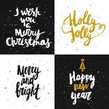 Vector Christmas and New year cards collection with handdrawn lettering. Stock Photo