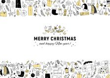 Vector Christmas and New year congratulation design. Scandinavian style illustration. Royalty Free Stock Images