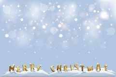 Merry Christmas golden letters in snow with sparkling background. Vector Christmas and New Year design elements. Vector Christmas and New Year design elements Stock Photography